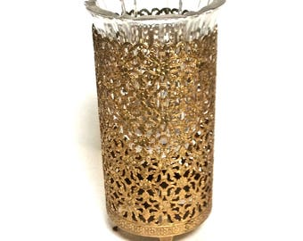 Vintage Revlon Ormolu Candle Holder Canister, Ornate Brass Filigree Vanity, Romantic Decor, Candleholder