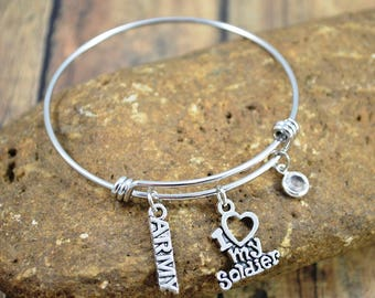 Army Themed Bangle Bracelet ~ Military Bracelet ~ Swarovski Crystal Birthstone ~ Army Jewelry ~ I Love My Soldier ~ Support Our Troops