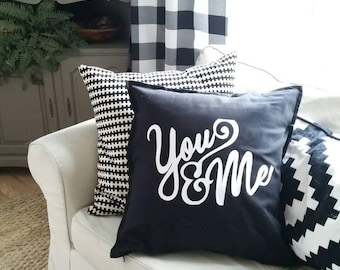 Decorative pillow cover - you and me