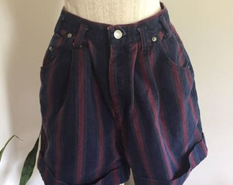 Vintage Sostanza Purple Green and Navy Candy Striped High Waisted Baggy Denim Shorts S M