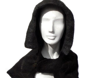 RESERVED for GWEN - Black Hooded Capelet