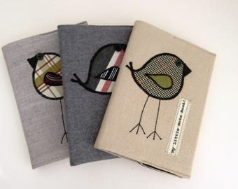 Three Appliqued Bird Notebooks
