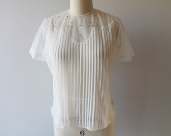1950s Lee Mar Rhinestone Blouse / Vintage 50s Sheer Nylon Flat Pleat Blouse