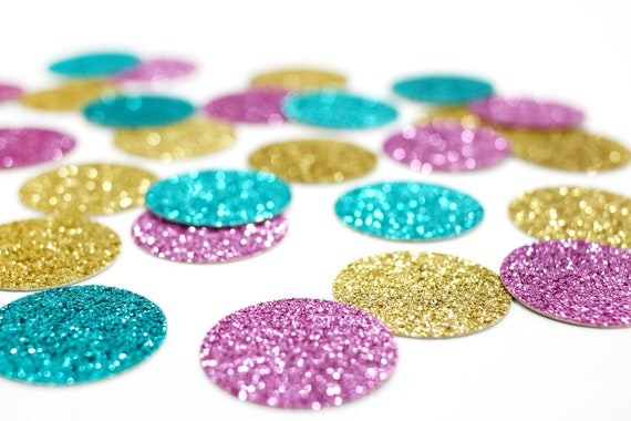 "Gold + Lavender + Aqua Blue Glitter Confetti - 1"" - Wedding. Bachelorette Party. Bridal Shower. Baby Shower. Engagement. First Birthday."