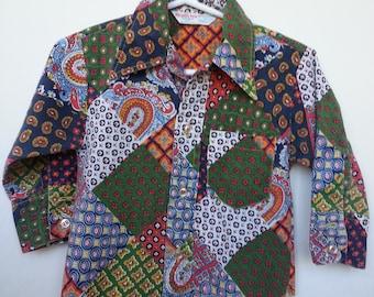Vintage Healthtex patchwork long sleeve shirt, size 2T