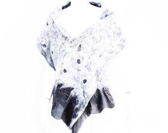Soft Grey Silk and Merino Wool Scarf