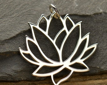 Large Silver Plated Bronze Lotus Flower Pendant