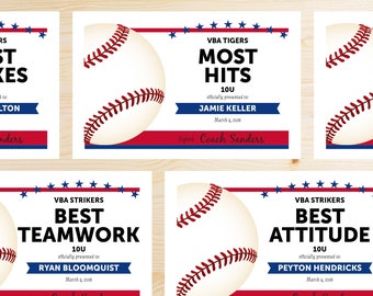 Editable Baseball Award Certificates - INSTANT DOWNLOAD PRINTABLE - Navy Blue and Red