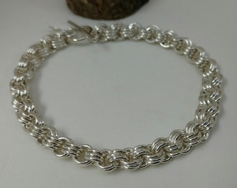 3 in 3 Sterling Silver Chain Maille Bracelet
