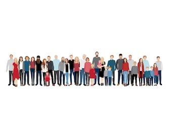 Large Family Portrait Illustration