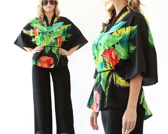 Vintage 80s Tropical Hawaiian floral Hibiscus batwing dress shirt TOP blouse S