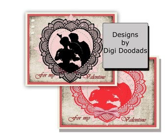 Old Fashioned Valentines Cards Silhouette Digi Files