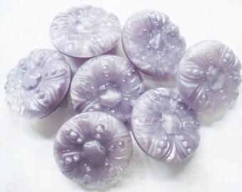 Fancy Purple Glass Buttons - Vintage Czech Glass Buttons - 7 Vintage Mauve Glass Buttons - Sparkly Lilac Glass Buttons