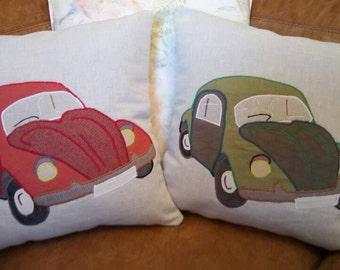 """VW Beetle Cushion Pillow Red Bug 18""""x18"""" 45x45cm Bye Brytshi"""