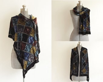 Vintage French Silk Blend Velvet Scarf Wrap | Square Velvet Panels w/ Black Sheer Crisscrossing Lines