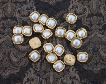 """17 Vintage 3/4"""" Square Shaped Plastic Shank Buttons. Gold and Pearl White Center. Rounded Edges. Sewing, Crafts, Applique. Item 4052P"""