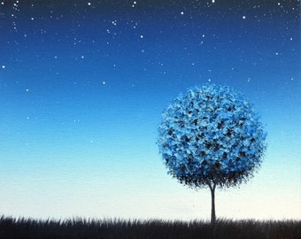 Blue Tree Art Poster, Photo Print of Blue Landscape, Print of Oil Painting, Blue Night Sky, Starry Sky, Contemporary Modern Art Home Decor
