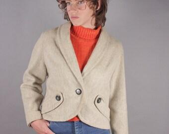 1940s Cream Wool Cashmere Cropped Blazer Jacket