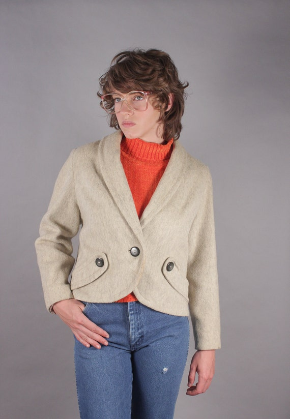 1940s Cream Wool Cashmere Cropped Blazer Jacket