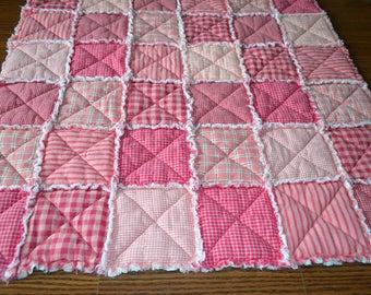 """Pink Rag Quilt Quilt 32"""" x 32"""" Homespun Cotton"""