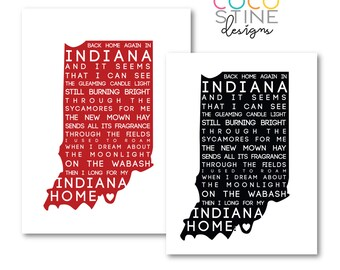 Back Home Again in Indiana Typography Print - Digital Black & Red