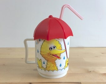 Vintage Sesame Street Cup - Big Bird and Umbrella and Rain Coffee Mug (C) Jim Henson Product, Inc - Sippy - Straw - Lid