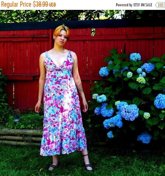 Floral Festival Dress 1970s Vintage Pastel Midi Maxi Dress MEDIUM Bohemian Spring Sleeveless Sundress Pink Green Blue Flower Sweet Sun Dress