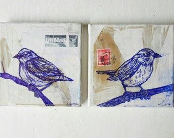 Sparrows on The Look Out Origanal Illustrations on Collage & Canvas