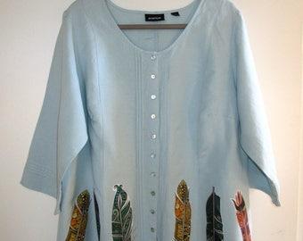 Artsy Upcycled Linen Shirt Jacket  2X  18/20