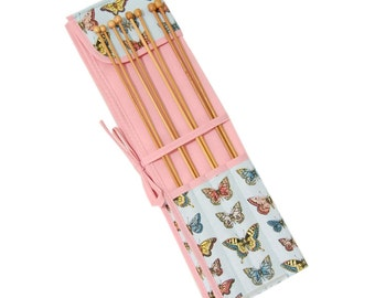 Knitting needle roll filled with bamboo knitting needles, butterfly knitting needle holder, gift for knitter, knitting needle case, UK shop
