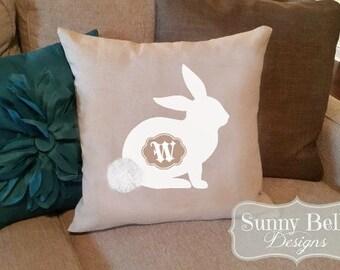 Easter Bunny Pillow Cover - Linen/Cotton Monogrammed Bunny Pillow