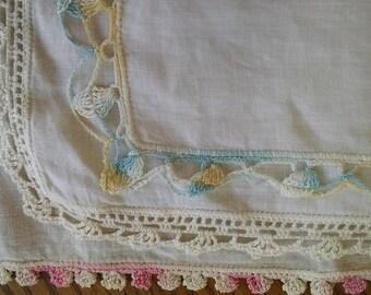 3 Crocheted Linen Handkerchiefs