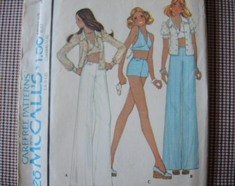 vintage 1970s sewing pattern McCalls 4426 blouse halter and pants size 8