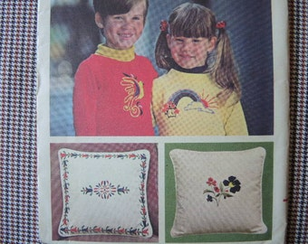 vintage 1970s Butterick Embroidery transfers 4004  rainbow flowers cat bird winter Christmas one size