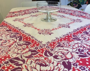 "Beautiful Square Vintage Cotton White, Fuchsia and Purple Peony Table Cloth, 45"" x 47"", Picnic, Vintage Cotton, Soft and Wonderful"