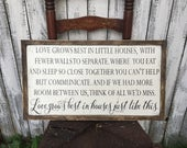Love Grows Best in Little Houses  Rustic Distressed Farmhouse Written Style Framed Wood Sign 13.5x24