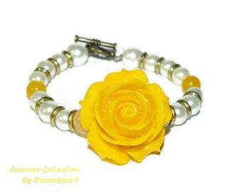 Yellow Bracelet, Toggle Bracelet, Flower Bracelet, Beaded Bracelet