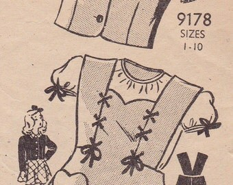 "RARE 40s 50s Size 6 Girl's Jumper Dress and Jacket Vintage Sewing Pattern [Marian Martin 9178] Breast 24"", Complete"