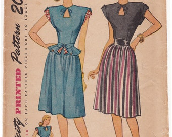 """1940s Simplicity 1738 Misses Keyhole Dress with Detachable Peplum Vintage Sewing Pattern - Size 12, Bust 30"""", Complete"""