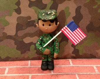 Polymer clay military man ornament,Army,cake topper,ornaments,Christmas decor,African American male,Military man,Christmas tree ornaments
