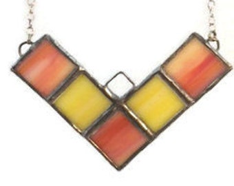 Orange and Yellow Stained Glass Chevron Necklace, Recycled Stained Glass Jewelry, kimsjoy, Gift for Her, Orange and Yellow, Geometric