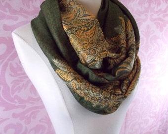 Moss green scarf/Christmas scarf/green infinity scarf/silky pashmina infinity scarf