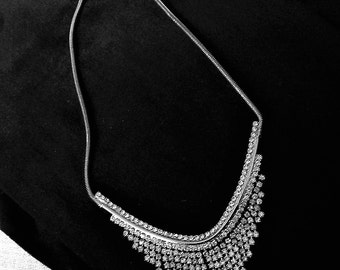 HOBE' NECKLACE or Choker  Clear Rhinestones Silver Tone  Vintage Designer Costume Jewelry Gift Wedding
