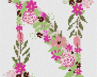 Needlepoint Kit or Canvas: The Letter N Flowering