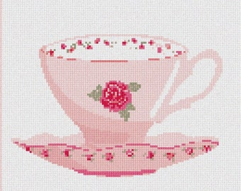 Needlepoint Kit or Canvas: Dainty Cup And Saucer