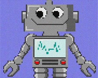 Needlepoint Kit or Canvas: Robot One