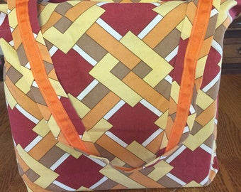 Reusable Handmade Market Tote made with vintage broadcloth