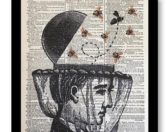 Bee Keeper Print, Vintage Bee Keeper Humor, Honey Bee Humor Print, Bee Prints, Prints of Bees, Vintage Honey Bee Art, Dictionary Print,