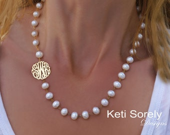 Pearl Necklace With Sideways Monogram Initials Charm -  Personalized in Sterling Silver, Yellow Gold or Rose Gold - White Pearls Necklace