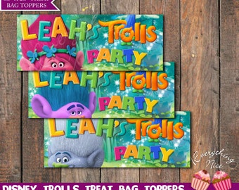 Trolls Theme Birthday Treat Bag Toppers